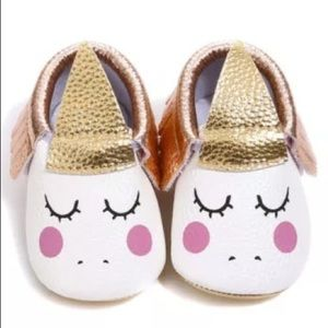 Other - Baby Sleeping Unicorn Moccasins Gold Faux Leather